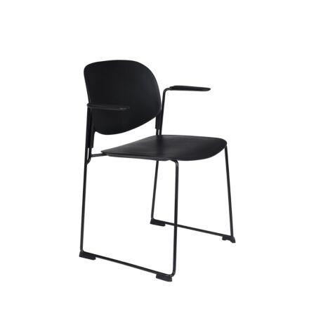 Stacks eetkamerstoel met armleuning Luzo - Zwart