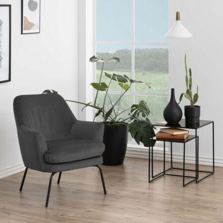 Terpol fauteuil Liv zwart - corsica donkergrijs