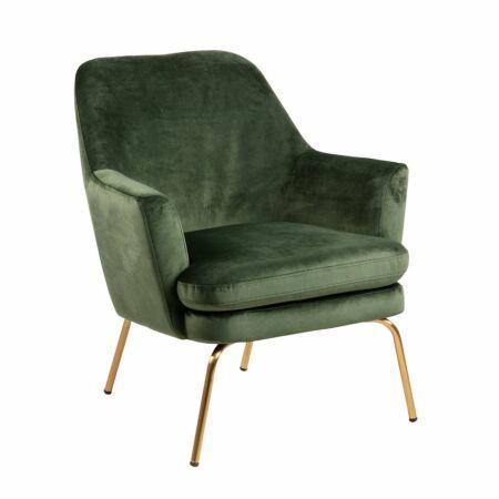 Terpol fauteuil Liv messing - donkergroen
