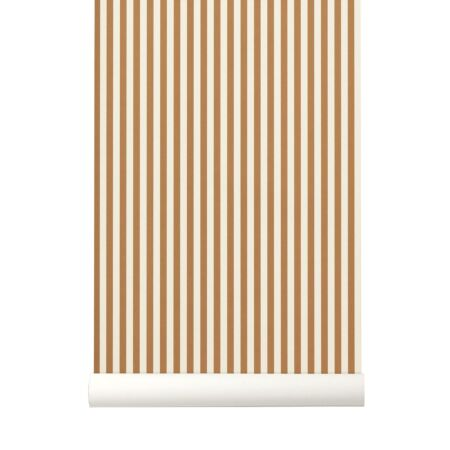 Thin Lines behang Ferm Living mosterdgeel - off white