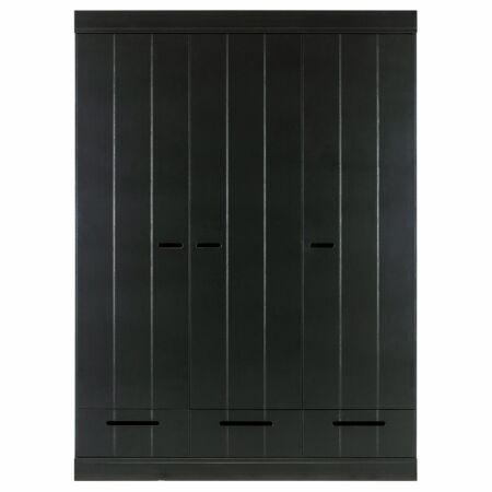 Connect kast Woood 3-deurs strokendeur zwart