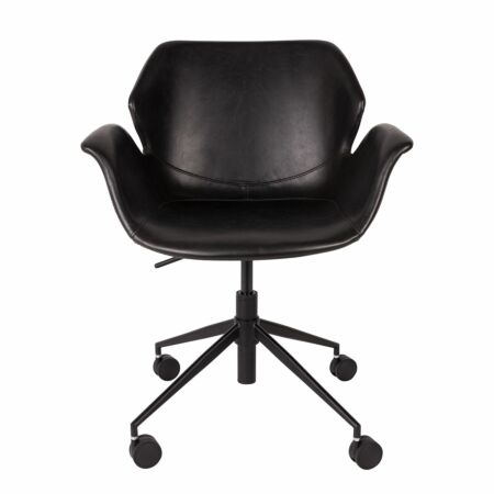 Nikki bureaustoel Zuiver leatherlook zwart