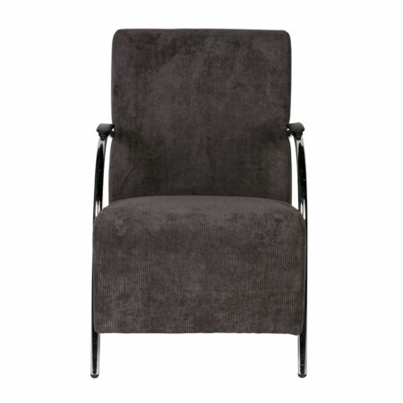 Halifax fauteuil Woood ribstof antraciet