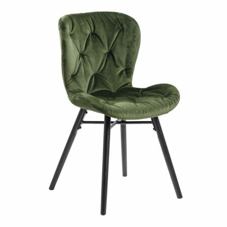 Bjorn eetkamerstoel Liv velvet - tuftings forest green