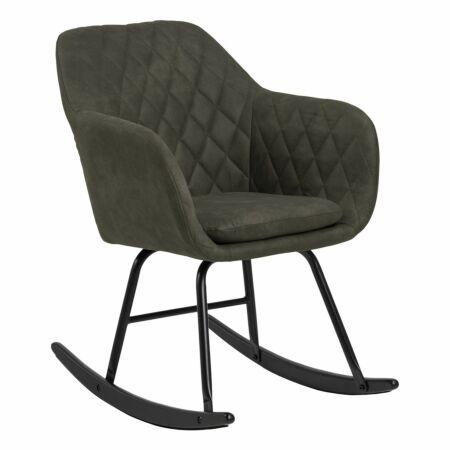 Croam rocking fauteuil Liv leer - olive green