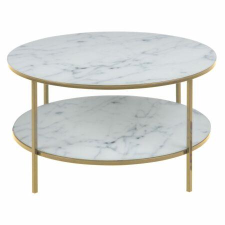 Yllene salontafel Liv rond goud - wit dubbel