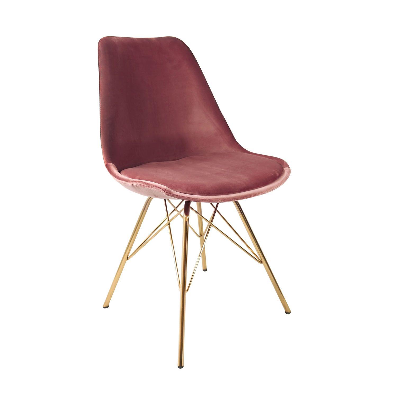 Velvet eetkamerstoel Kick Collection roze - gouden frame