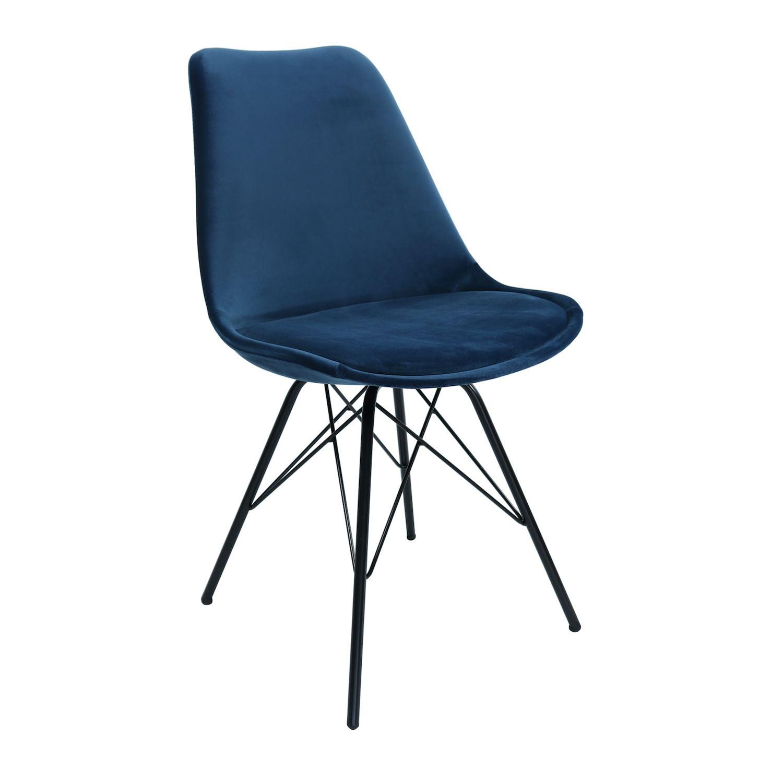 Velvet eetkamerstoel Kick Collection donkerblauw