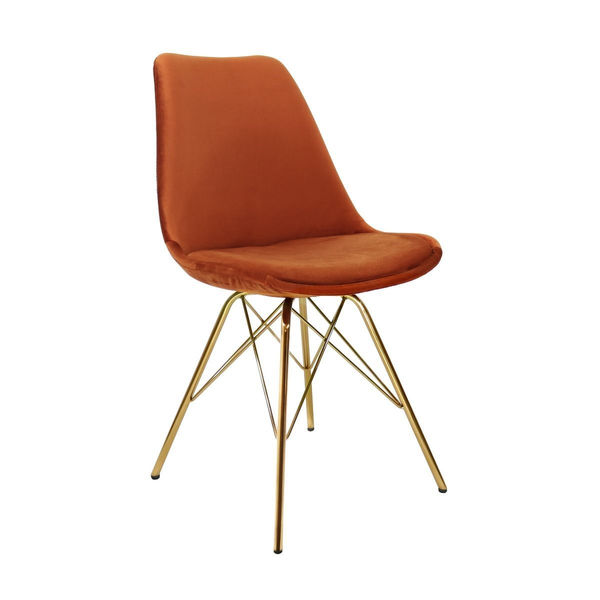 Velvet eetkamerstoel Kick Collection oranje - gouden frame