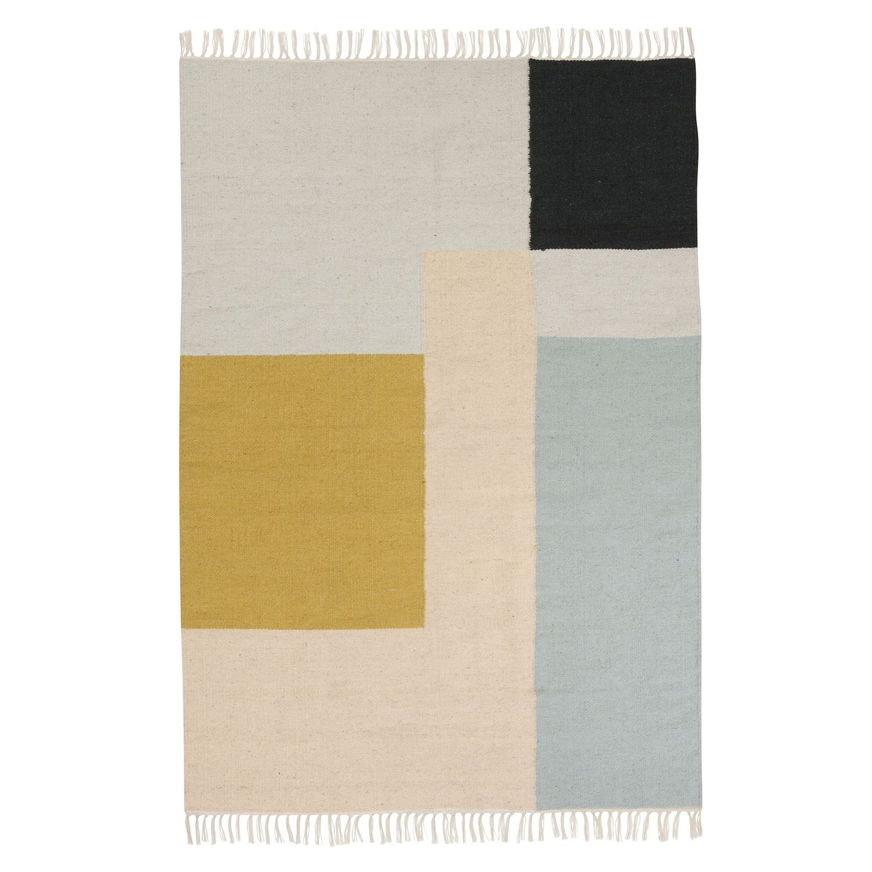Kelim vloerkleed Ferm Living 140x200cm squares