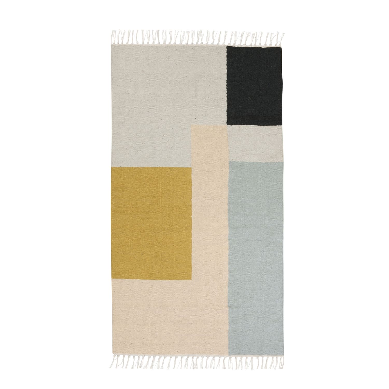 Kelim vloerkleed Ferm Living 80x140cm squares