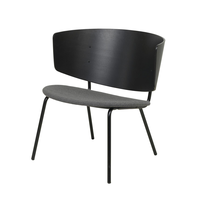 Herman fauteuil Ferm Living zwart gestoffeerd donkergrijs
