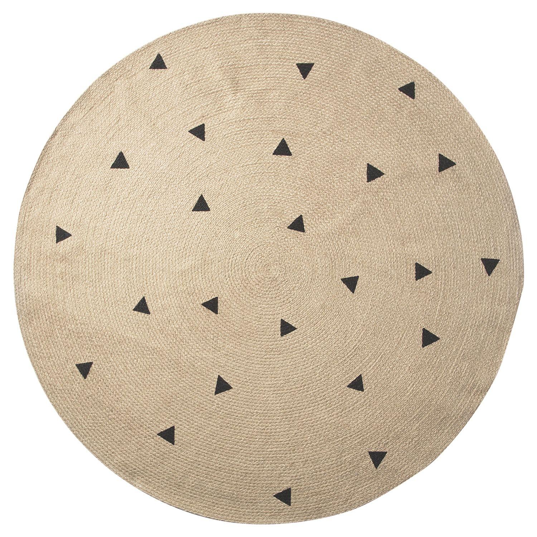 Jute vloerkleed Ferm Living Ø130cm black triangles