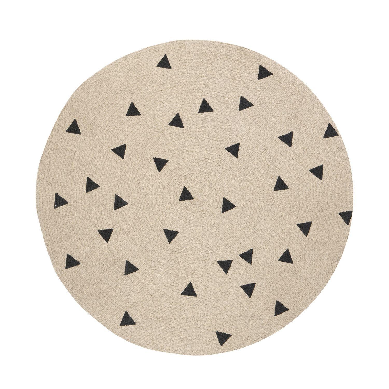 Jute vloerkleed Ferm Living Ø100cm black triangles