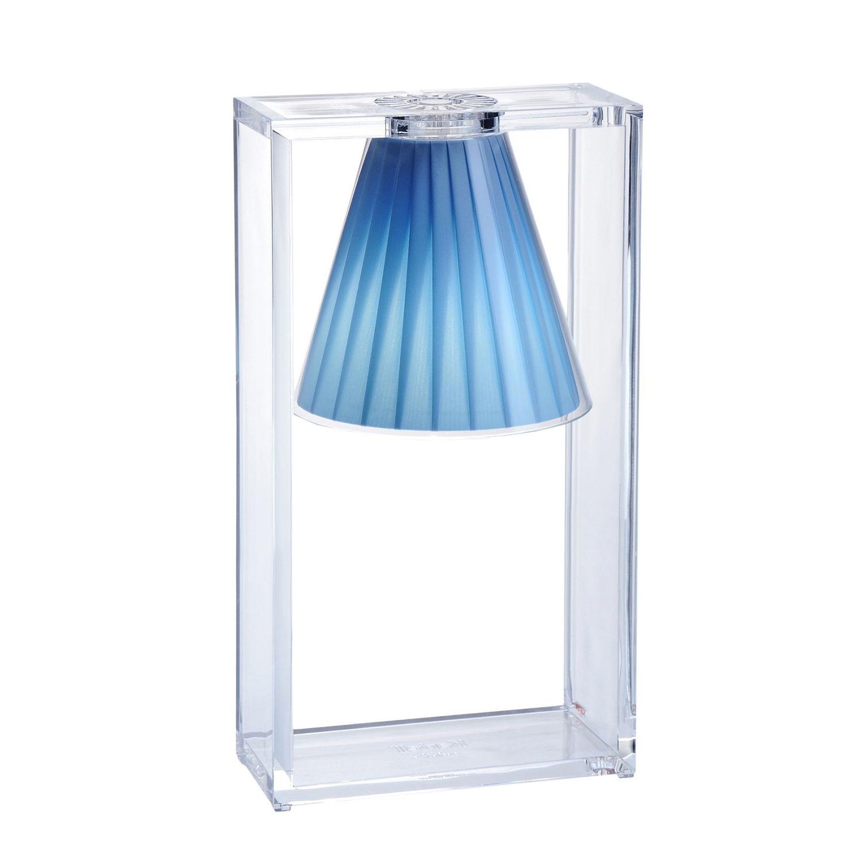 Light Air tafellamp Kartell plissé lichtblauw