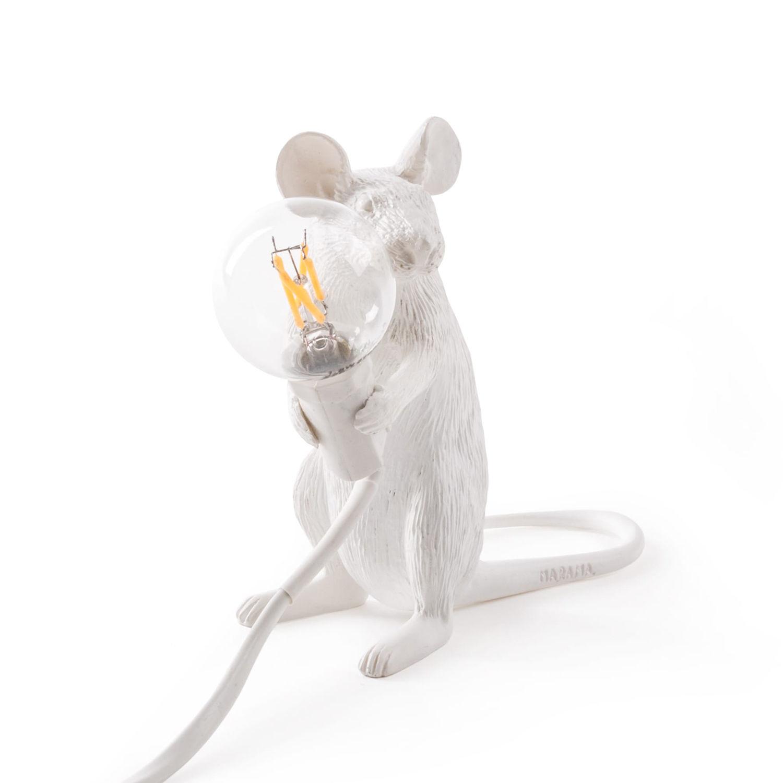 Mouse tafellamp Seletti zittend wit