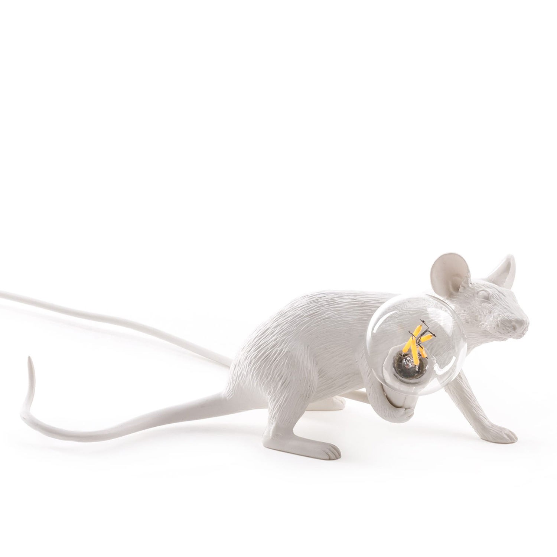 Mouse tafellamp Seletti liggend wit