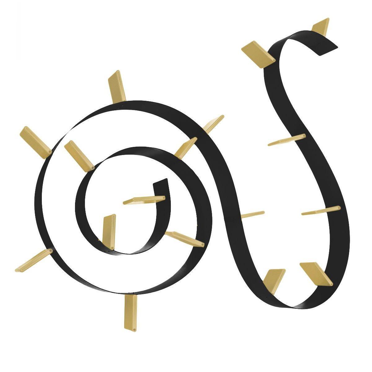 Popworm boekenplank Kartell 17 zwart/goud