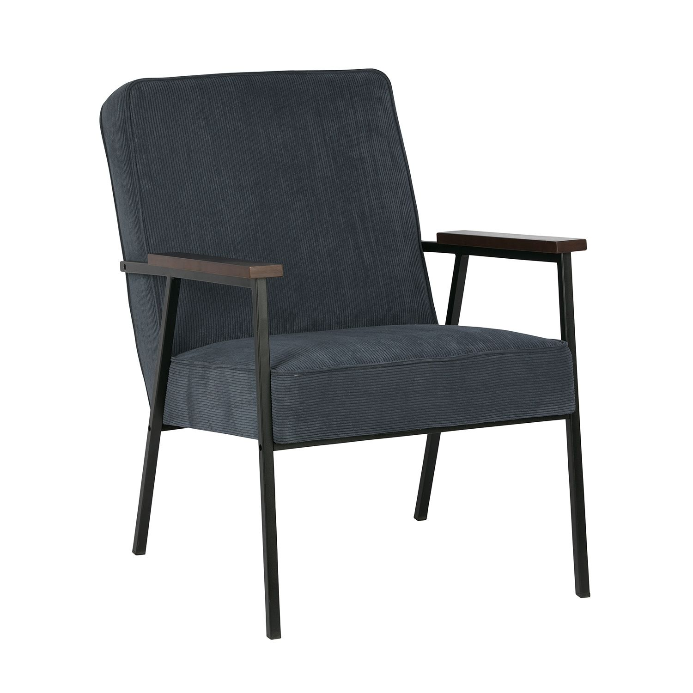 Sally fauteuil Woood staalblauw