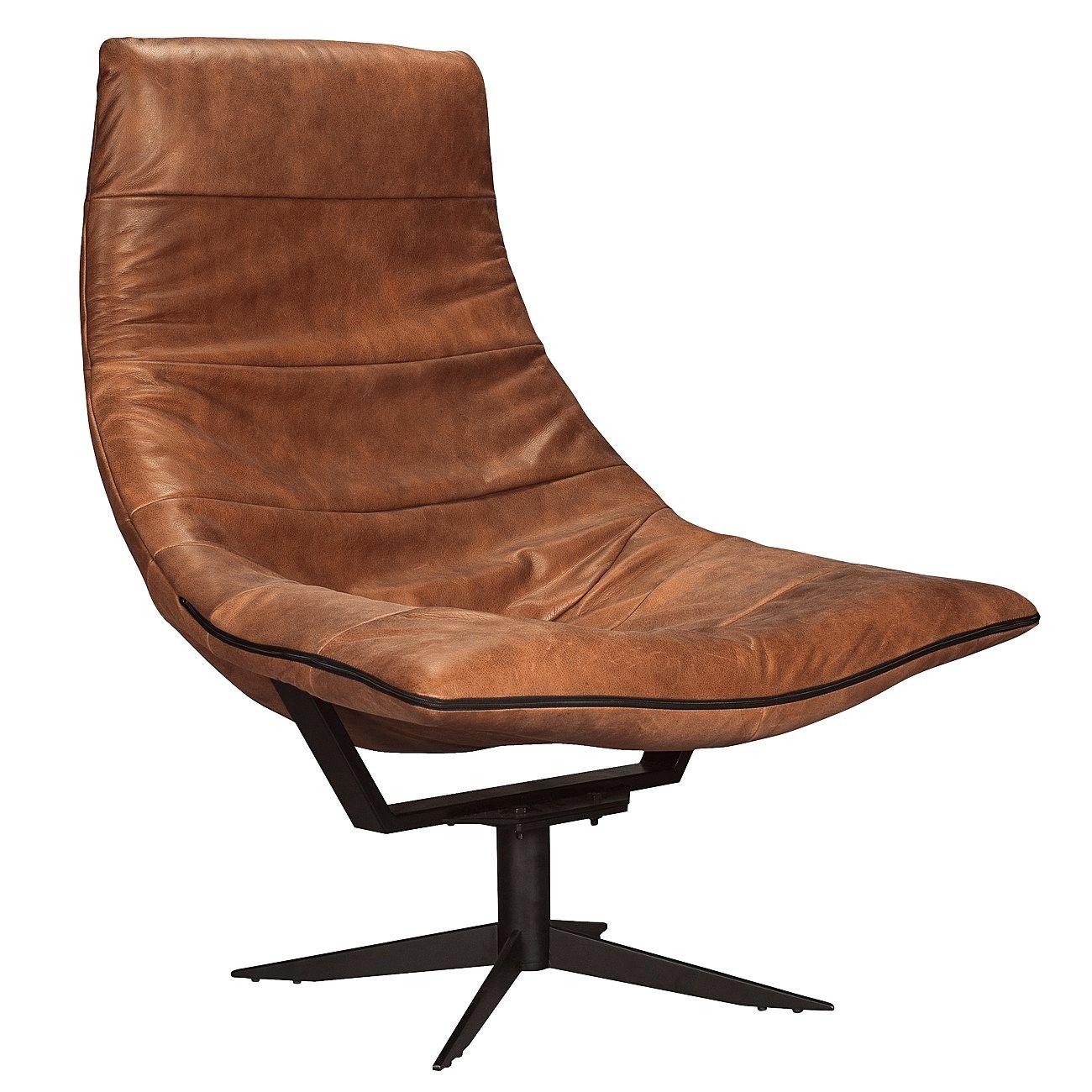 Turner fauteuil Bodilson Micro Leather 94 Cinnamon met voetenbank