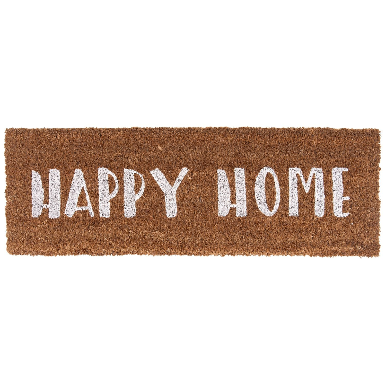 Happy Home deurmat Present Time wit