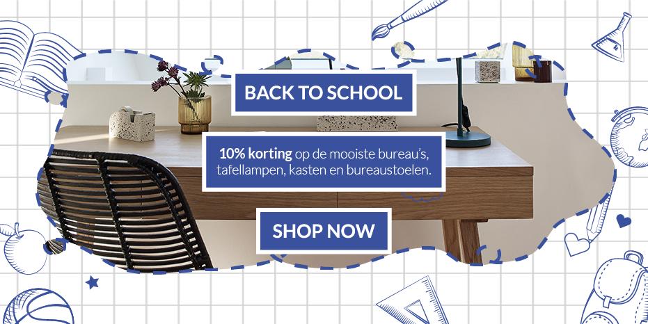 Musthaves.nl | Back to School met de mooiste bureau's, tafellampen, kasten en bureaustoelen.